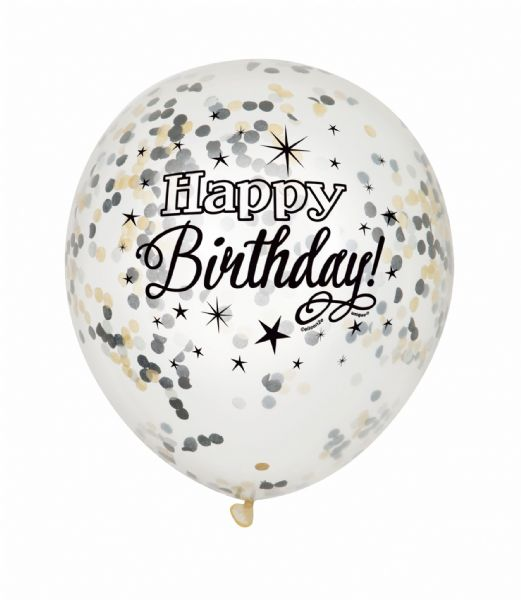 Clear Latex Confetti Happy Birthday Black